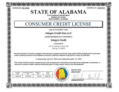 Integra credit license al